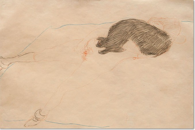 Gustav Klimt: 'Nach rechts liegender Akt mit Pelz / Reclining Nude with fur', 1910, pencil, blue and red coloured pencil on paper