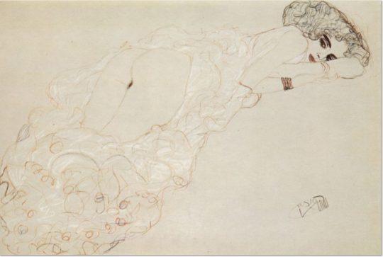Gustav Klimt: 'Auf dem Bauch Liegende', 1909/10, Bleistift, roter und blauer Farbstift, auf Papier.