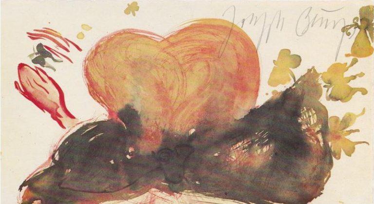 Joseph Beuys – Mädchenkopf mit blauer Schleife und Schmetterlingen