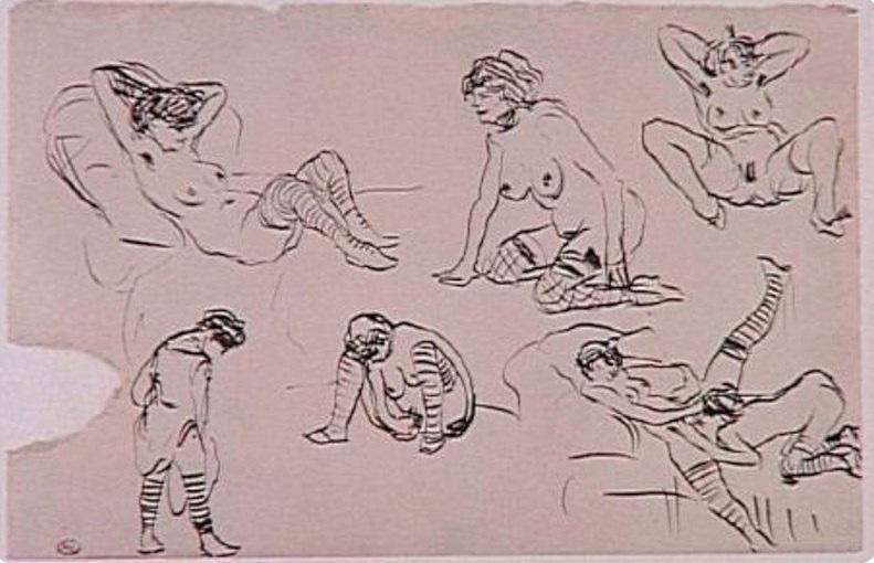 """Pablo Picasso: """" Tête de femme, de Profil"""", 1905, Kaltnadelradierung auf Van Gelder Bütten,"""