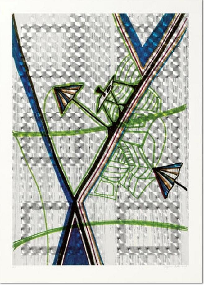 Sigmar Polke - Der Kuchen ist alle, Farbserigrafie, 2006. lim. Auflage 40 Exemplare auf Lentikularfolie, kaschiert auf Karton (hier angeboten A.P.), nummeriert, handsigniert und datiert. Motivgröße: 83 x 59 cm. Blattformat: 94 x 67 cm