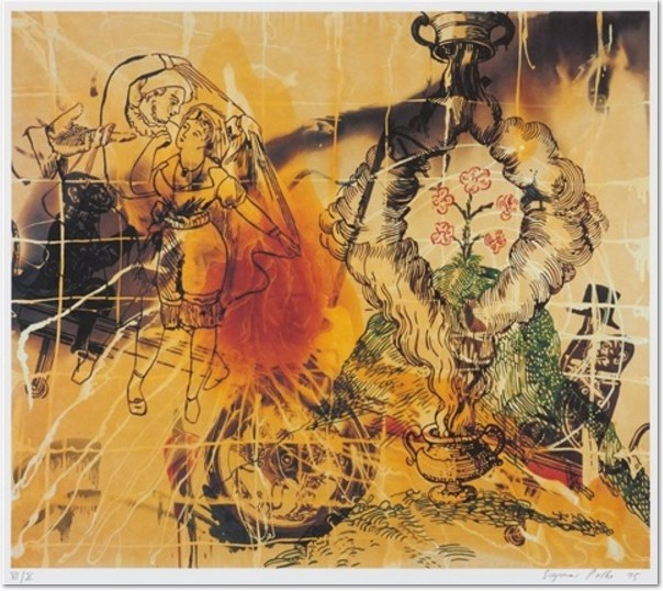 Sigmar Polke: 'Affenschaukel', 1995, Offset lithograph on handmade paper, signed and numbered, edition of 75 + X, picture size: 50 x 57.2 cm, total size: 55 x 75 cm