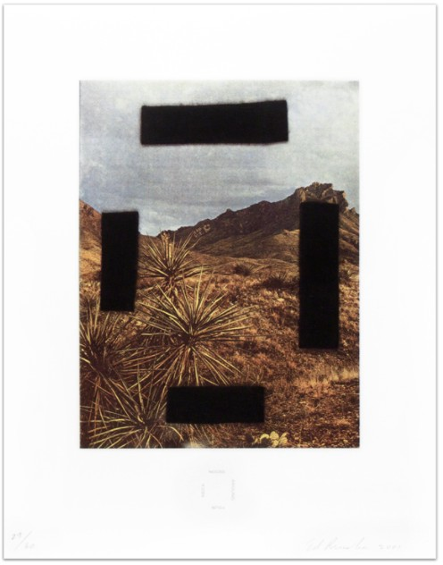 Ed Ruscha: 'Noose Around Your Neck', 2001, Four-color photogravure with screenprinted text, signed 'Ed Ruscha' and dated lower right, numbered lower left, edition of 60, image size: 12 x 9 1/8 in / 30.5 x 23.2 cm, Paper size: 18 x 14 in / 45.7 x 35.6 cm