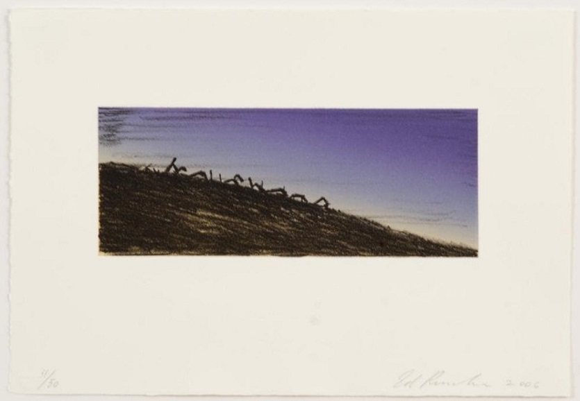 Ed Ruscha: Further Landmark Decay, 2006, Color lithograph, signed and dated on lower right and numbered on lower left recto, edition of 50, size: 9.00 x 13.00 in 22,9 x 33 cm.