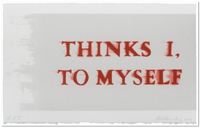 Ed Ruscha: 'Thinks I, To Myself', 2017, 3 color lithograph, signed, dated, and numbered in pencil, lower margin, edition of 80, plus proofs, sheet size: 32.5 x 53.5 cm / 12.75 X 21, Co-published with Royal Academy of Art