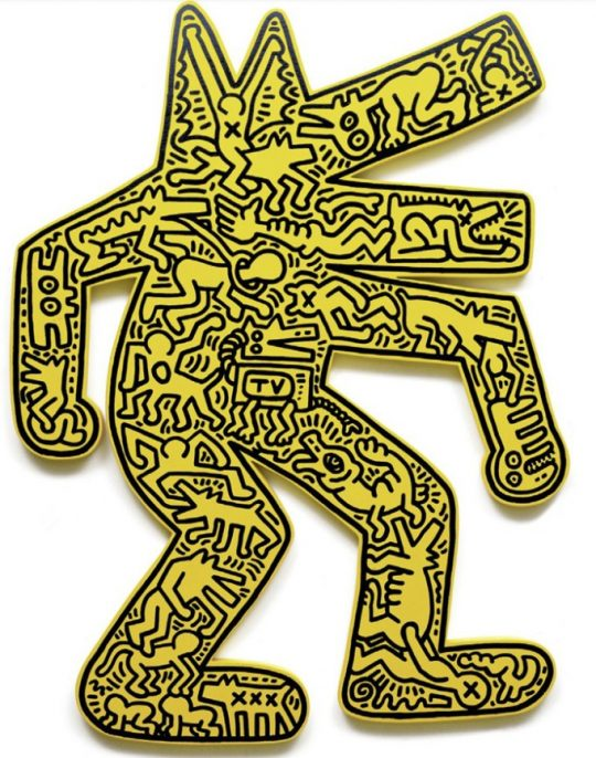 "Keith Haring - Dog, yellow. 1986 Plywood, painted, with silkscreen, size: 126 x 96 x 4 cm (49½ x 37¾ x 1½""). Edition of 10, signed and numbered."