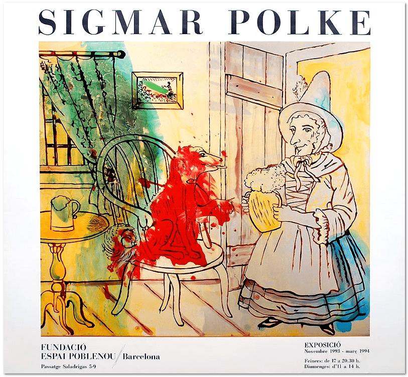 SIGMAR POLKE, Original Exhibition Poster, 1993, color offset, Fundació Espai Poblenou, Barcelona, size: 68 x 74 cm / 26,7 x 29,1 inch, very good condition. Literature: Axel Ciesielski, Claus von der Osten - Sigmar Polke Plakate - Snoeck Verlag 2013, Nr. 65