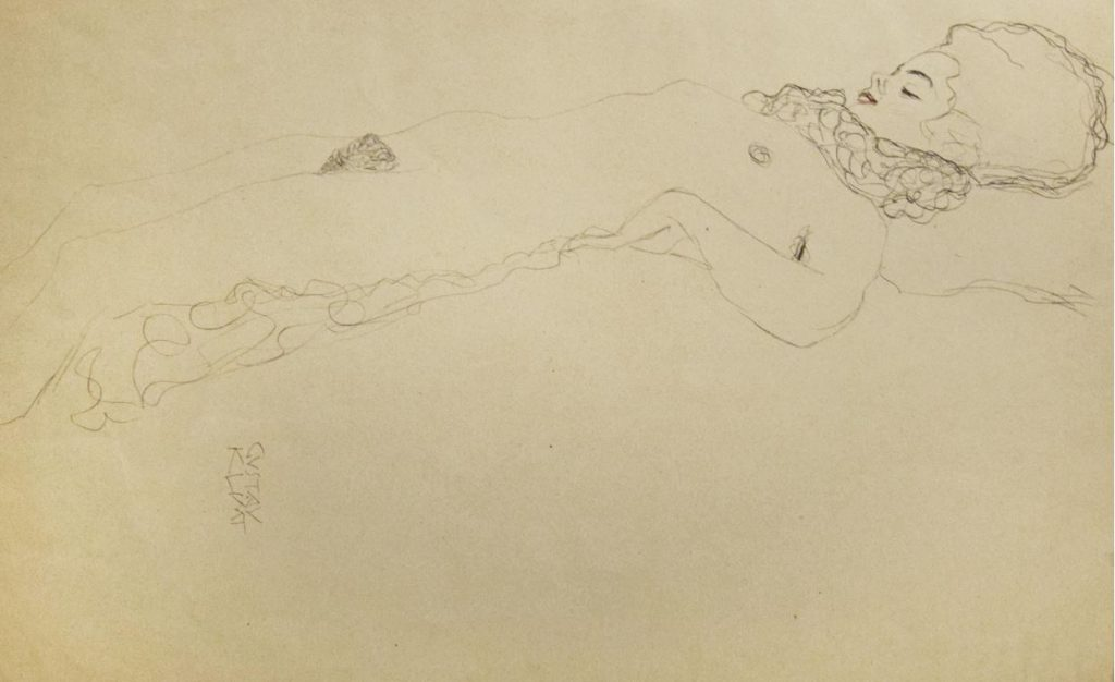 Gustav Klimt. Female Nude Lying with Scarf - 1910s , pencil on paper