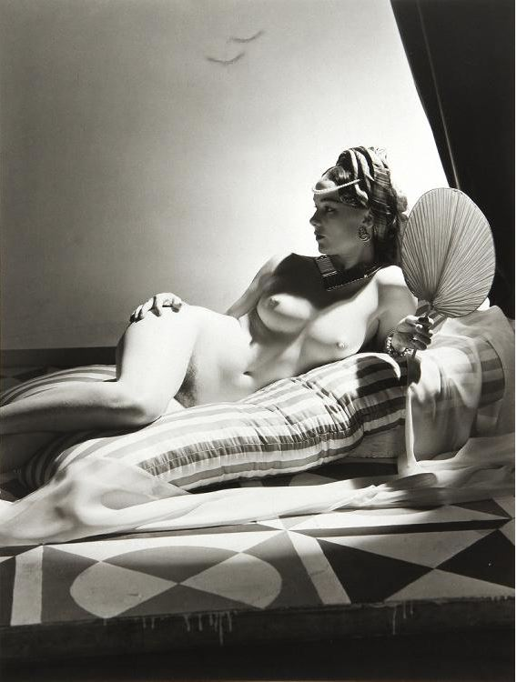 Horst P. Horst: Odalisque I, New York, 1943, silver gelatin print, printed later, stamped with Photographers blind stamp, signed and inscribed with title on verso, size: 14 1/4 x 11 in