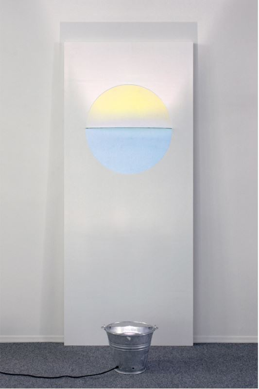 "Olafur Eliasson: 'Sunset Door',2006, fromDoor Cycle, wooden door panel with color effect filterand light. Size: door 210 x 90 x 12 cm (82¾ x 35½ x 4¾""), bucket 28 x 30 cm diam.(11 x 12""). Edition: 15, signed and numberedon separate label."