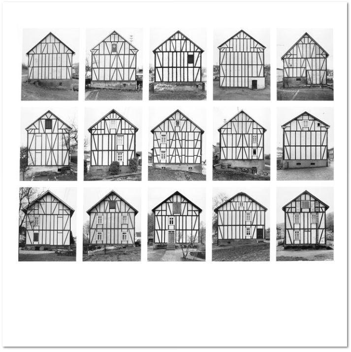 """Bernd & Hilla Becher: """"Fachwerkhäuser"""", 1993/2003, Offsetdruck, Siegener Industriegebiet, 1993, Blattformat: 70 x 70 cm"""